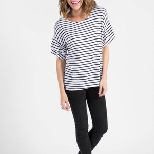NWT Frill Sleeve Top White and Navy Stripe